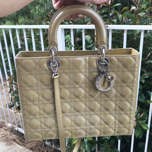 Dior Handbags - PATENT LEATHER CANNAGE LADY DIOR LARGE BEIGE